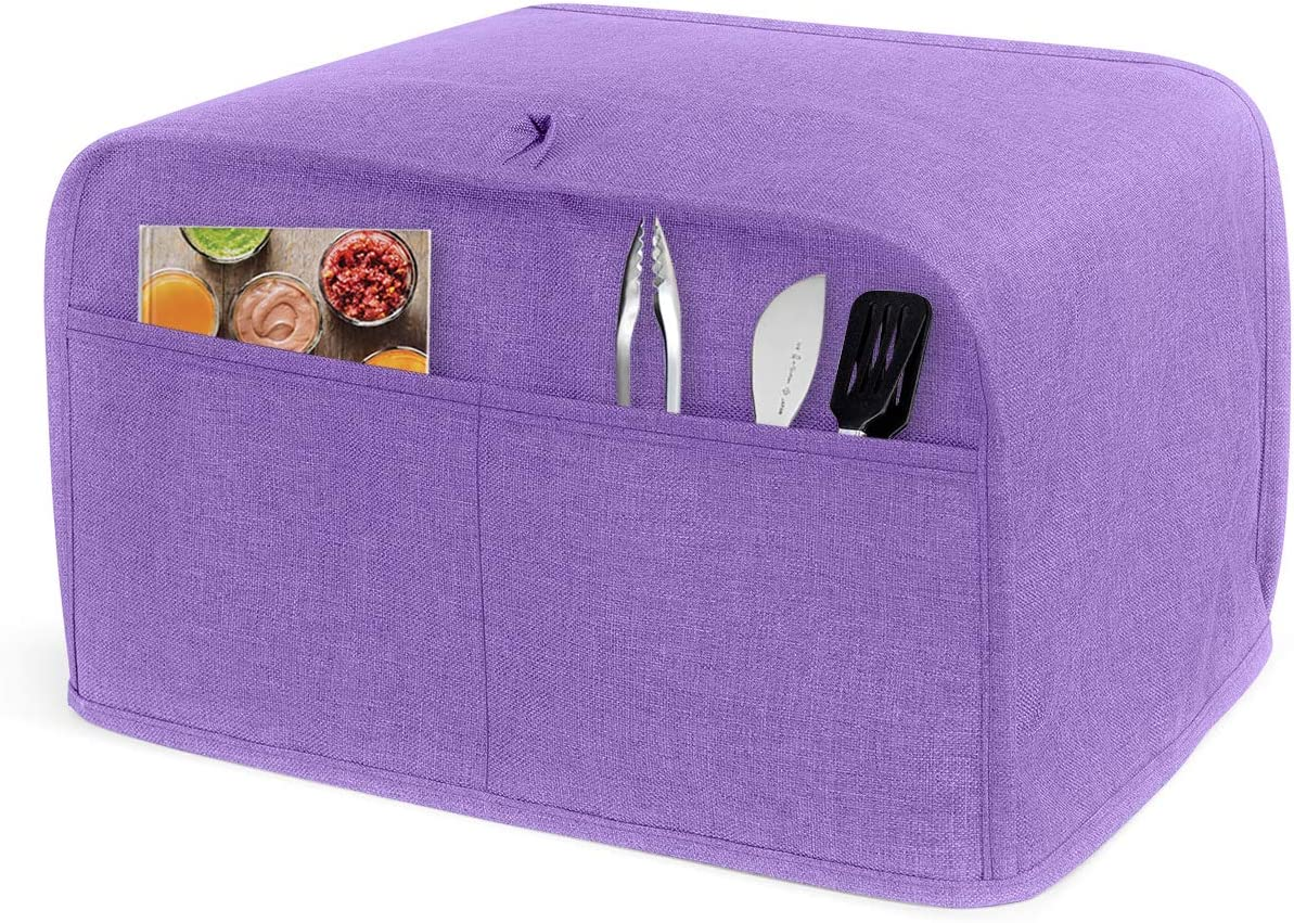 LUXJA 2 Slice Toaster Cover (11 x 7.5 x 8 inches), Toaster Cover with 2 Pockets (Fits for Most Major 2 Slice Toasters), Purple