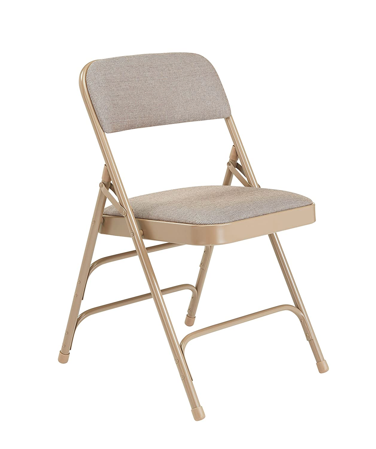 National Public Seating 2300 Series Steel Frame Upholstered Premium Fabric Seat and Back Folding Chair with Triple Brace, 480-Pound Capacity, Cafe Beige/Beige, Carton of 4 2301
