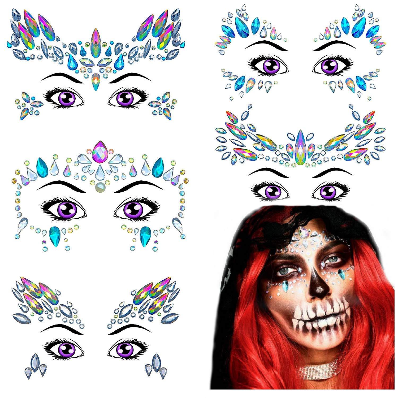 Face Gems 5 Sets Face Jewels   Mermaid Rhinestone Temporary Tattoos Rave Glitter   Bindi Eyes Crystals Mermaid   Face Body Stick On Diamantes for Music Festivals Bohemian Coachella Otrexo