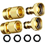 MAXFLO Garden Hose Quick Connect Garden Hose Fittings [2 Pack] Solid Brass Water Hose Quick Connect Fittings Quick Connector | Water Hose Connectors 3/4 inch GHT | Hose Couplers Quick Disconnect