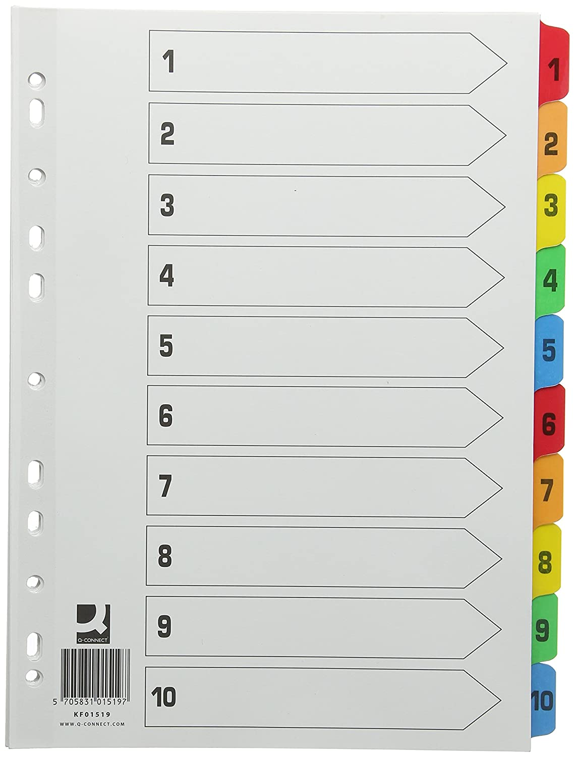 Amazon.com : Q-Connect Index Reinforced Multi-Colour 1-10 Numbered Tabs KF01519 : Office Products