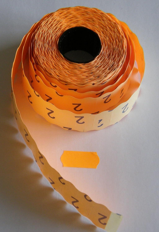 10 Rollen 26x12 mm Auszeichungsetiketten f/ür die Preisauszeichnung orange