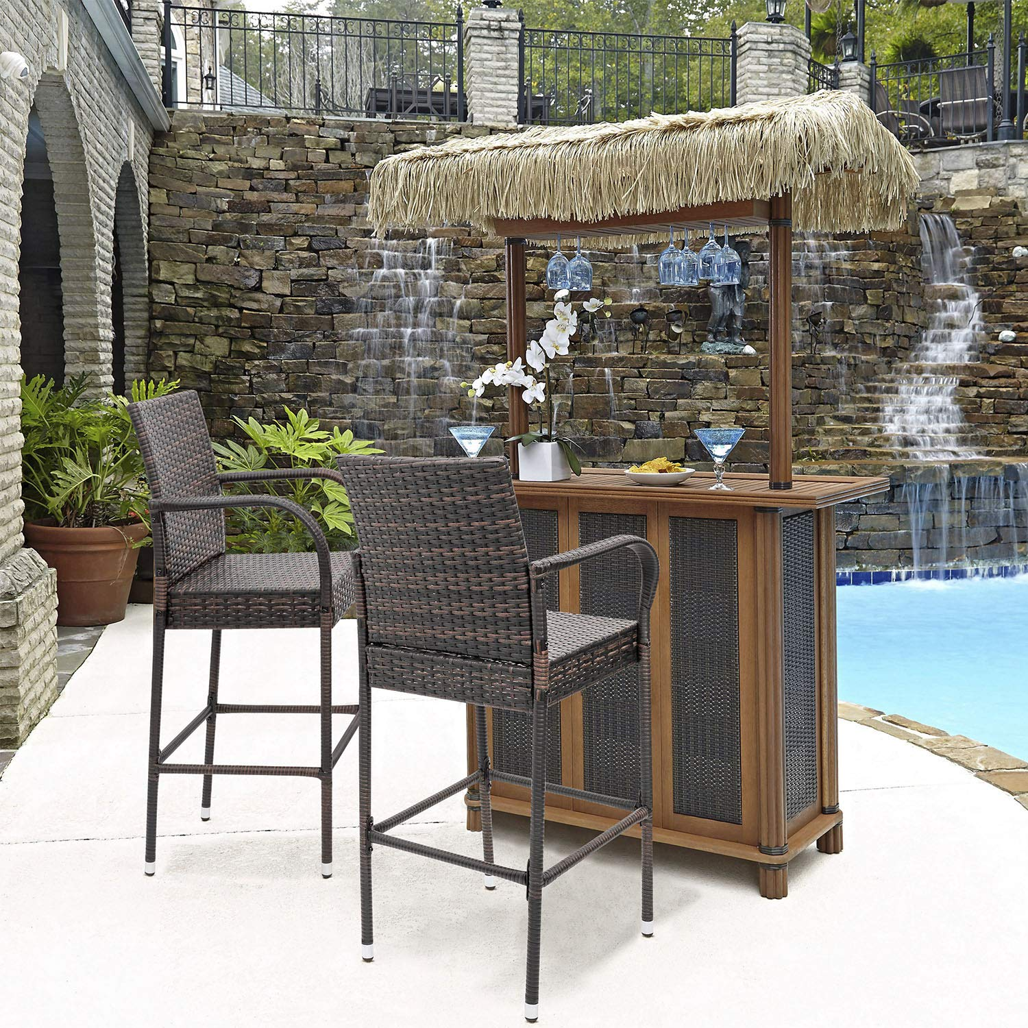 Homall Patio Bar Stools Wicker Barstools Indoor Outdoor Bar Stool Patio Furniture with Footrest and Armrest for Garden Pool Lawn Backyard Set of 2 (Brown) by Homall (Image #5)