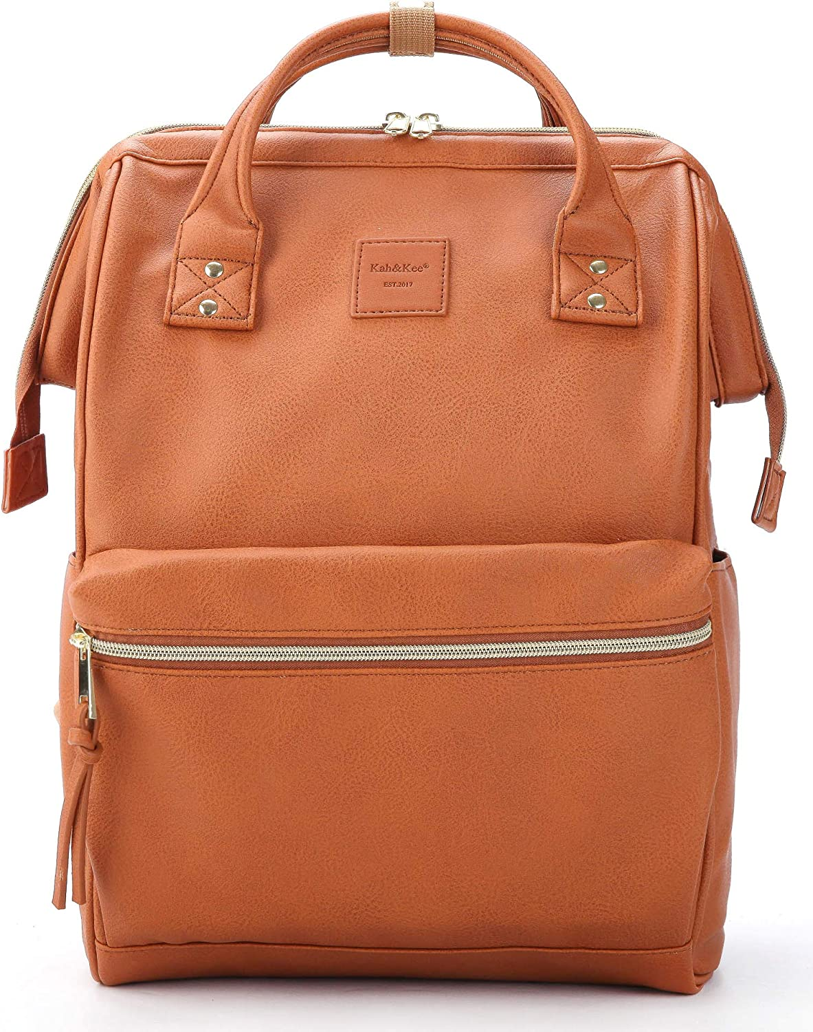 Kah&Kee Leather Backpack Diaper Bag with Laptop Compartment Travel School for Women Man (Camel, Large)