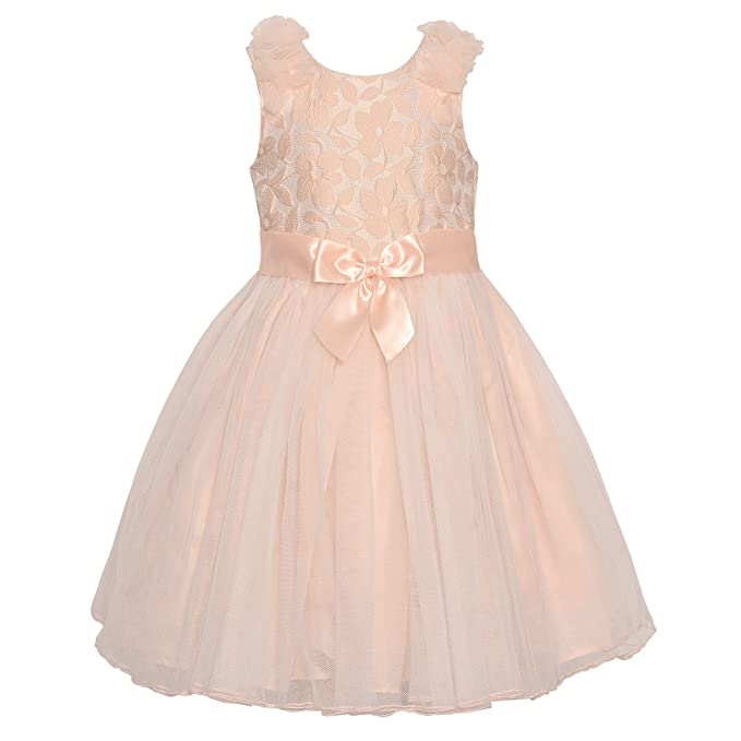 3fb12e68896 Amazon.com  Bonnie Jean Baby Girls Peach Lace Tulle Bow Flower Girl ...