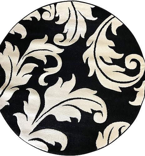 Hollywood Modern Round Contemporary Floral Area Rug Black White Design 288 5 Feet 6 Inch X 5 Feet 6 Inch Round