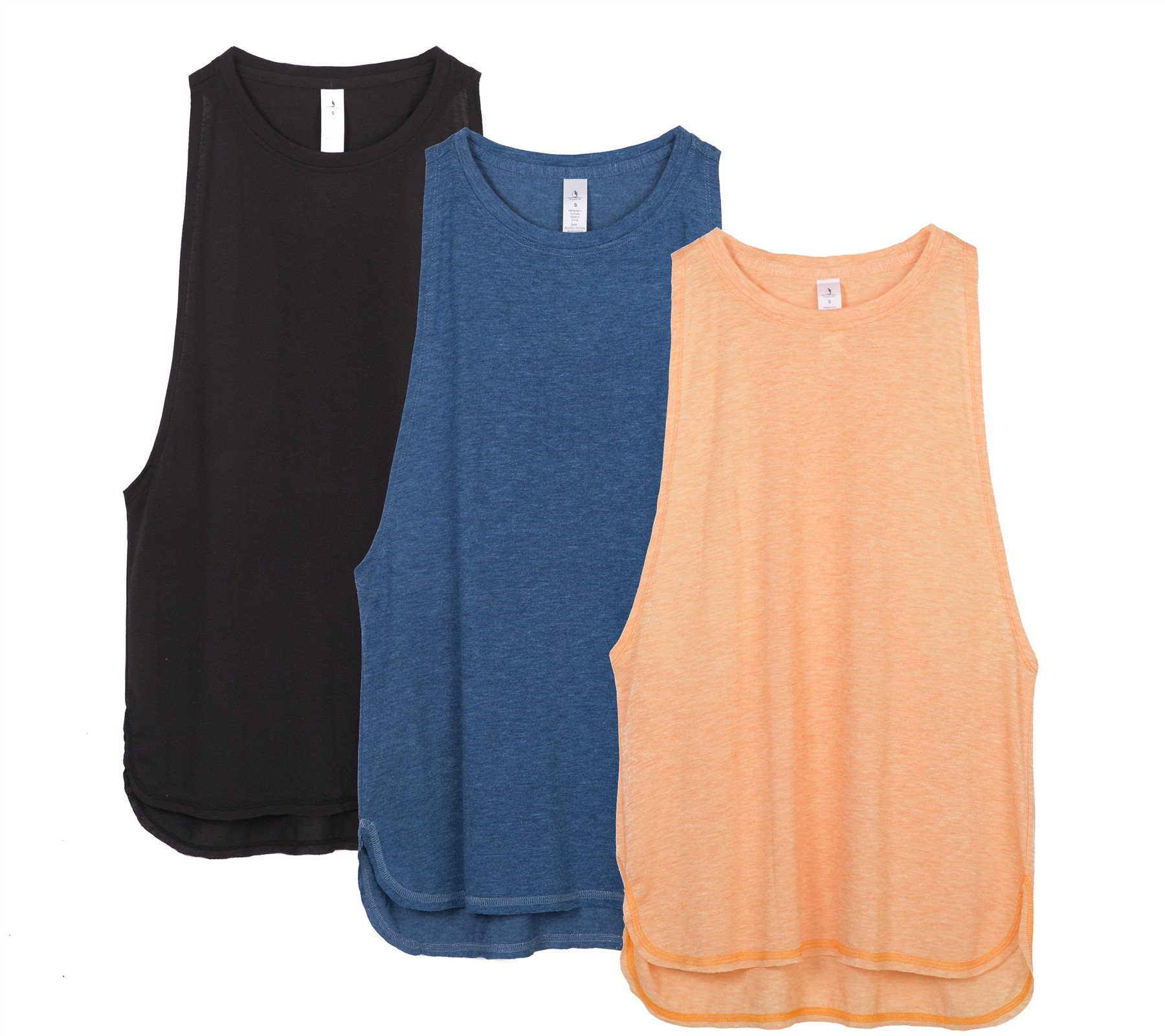 icyzone Workout Tank Tops for Women - Running Muscle Tank Sport Exercise Gym Yoga Tops Running Muscle Tanks(Pack of 3) (XS, Black/Denim/Pumpkin)