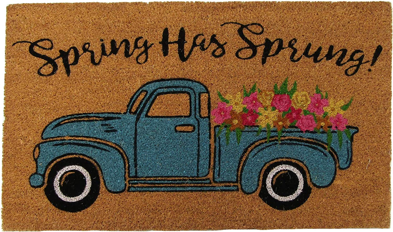 "Elrene Home Fashions Farmhouse Living Spring Has Sprung Farm Truck Coir Door Mat, 18""x30"""