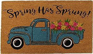 "Elrene Home Fashions Farmhouse Living Spring Has Sprung Farm Truck Coir Door Mat, 18""x30"""