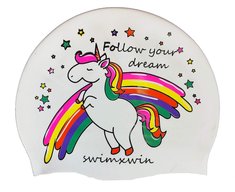 Gorro de Nataci/ón|Gorro de Piscina Dise/ño y Estilo Italiano Alta Comodidad y Adherencia Swimxwin Gorro de Silicona Follow Your Dreams