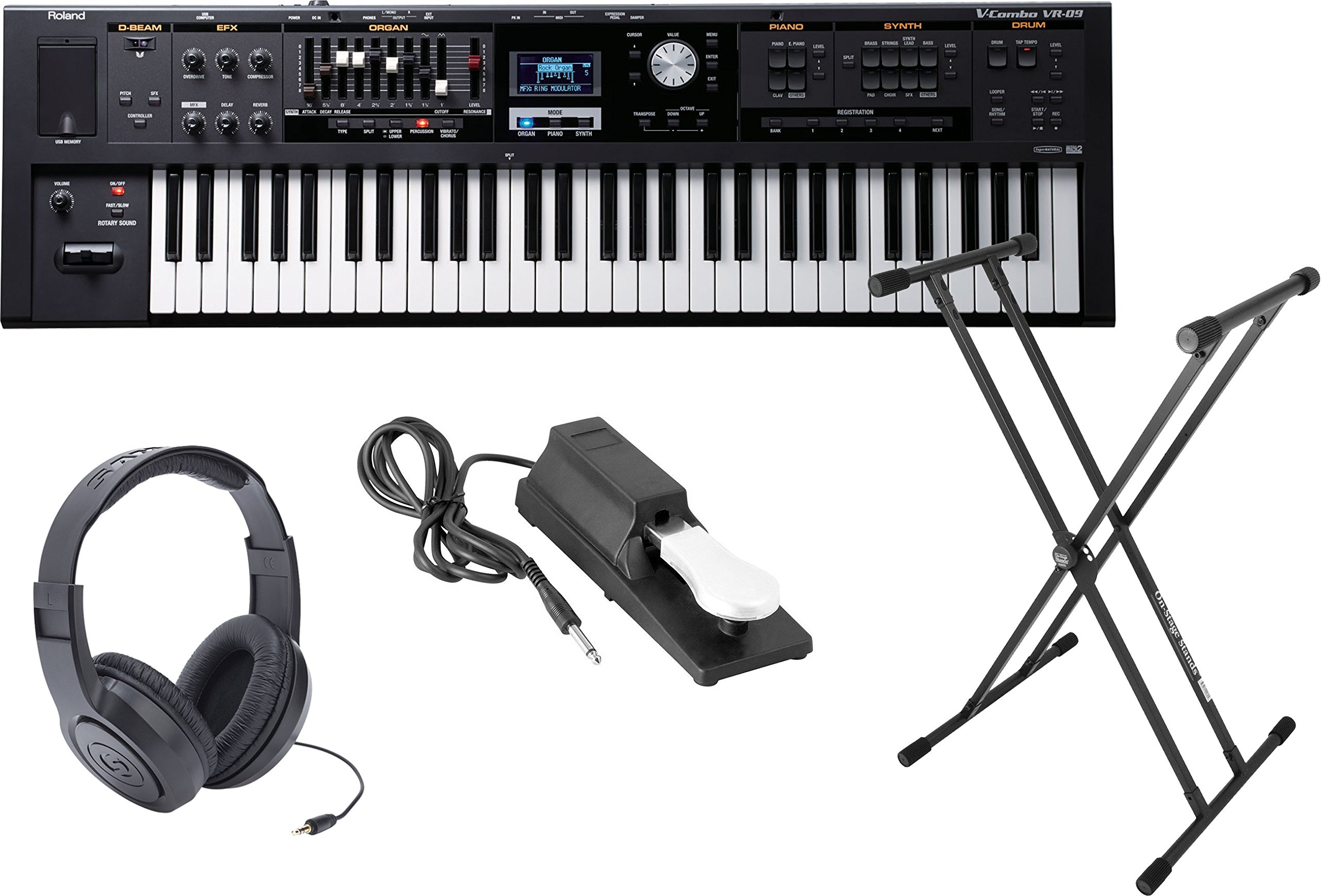 Roland VR-09 'V-Combo' 61-Note Live Performance Keyboard w/Sustain Pedal, Double X Stand, and Headphones by Roland