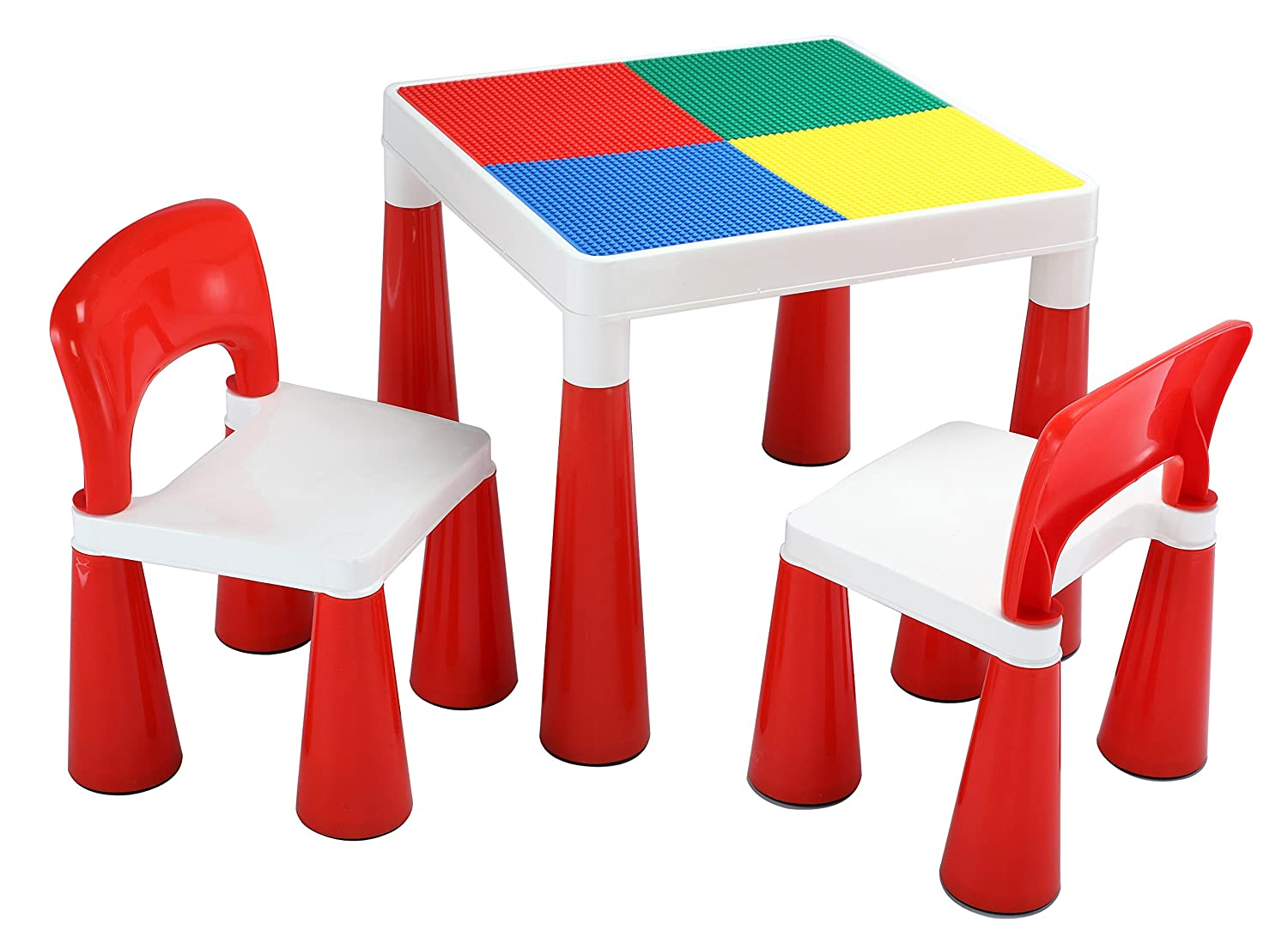 Liberty House Toys 2-in-1 Activity Table and 2 Chairs, Plastic, Red/White 598