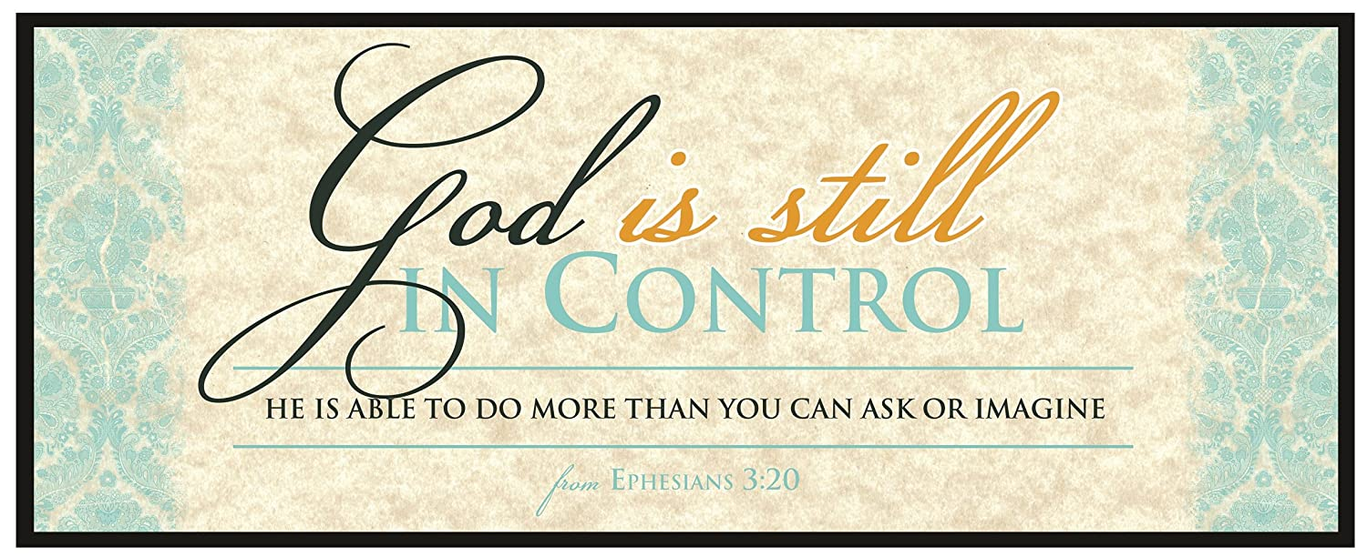"Carpentree ""God is Still in Control Canvas Wall Art, 10"" Length x 4"" Height x 1/2"" Width, Blue 83676"