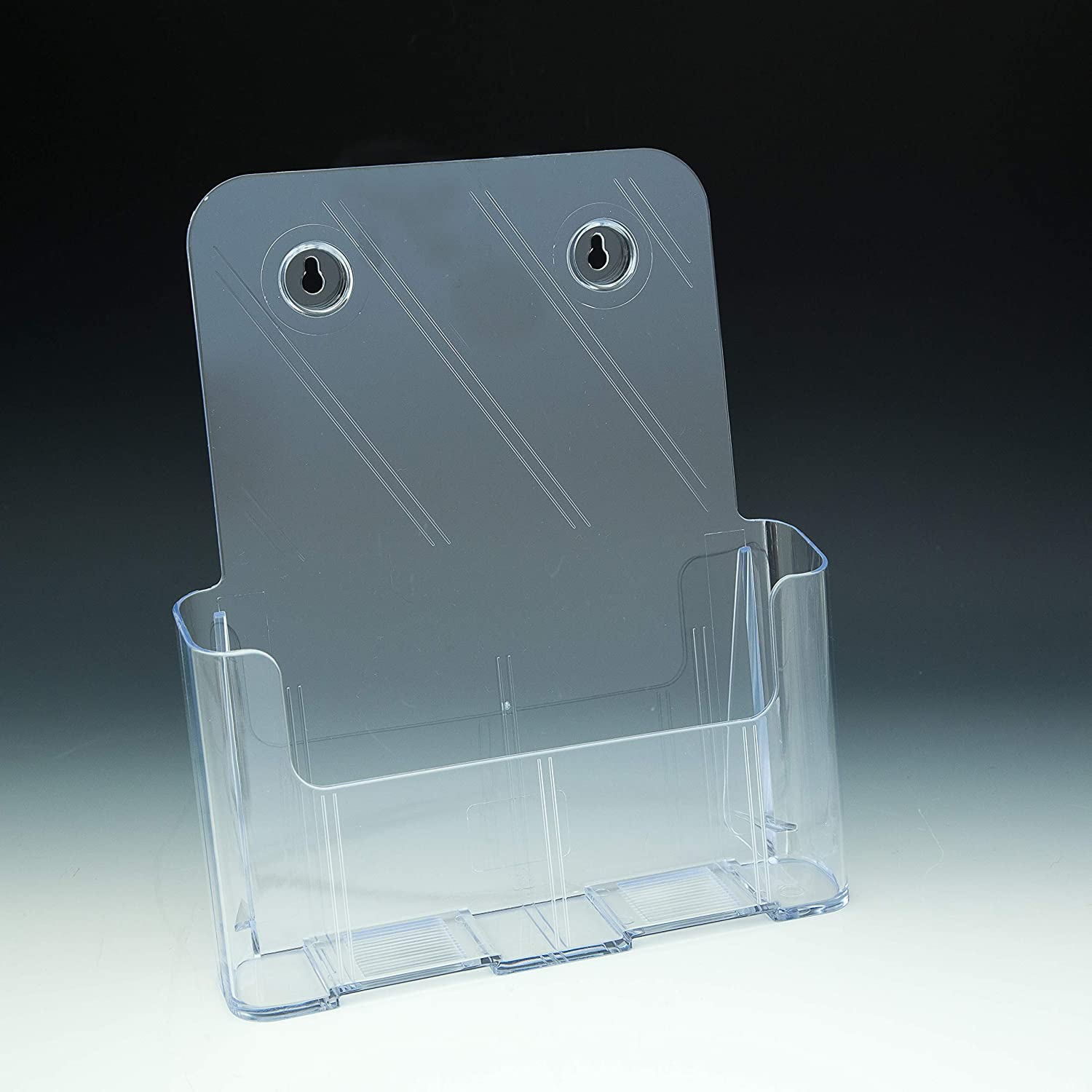 Pack of 32 Beemak TK4CIW//CS55CI Clear Countertop or Wall Mount Trifold Brochure Holder with Business Card Holder
