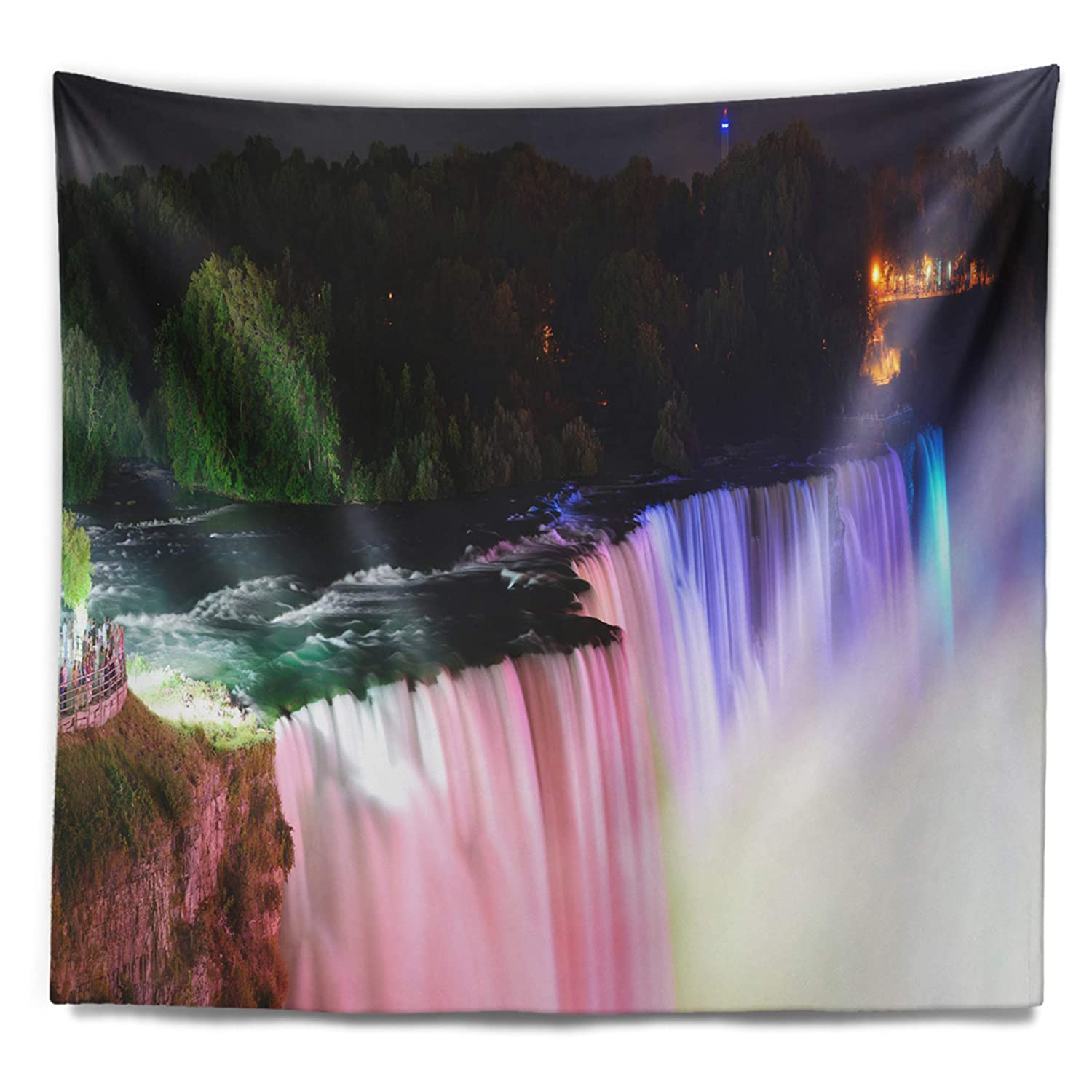 x 68 in 80 in Created On Lightweight Polyester Fabric Designart TAP7140-80-68  Colorful Niagara Falls Panorama Abstract Blanket D/écor Art for Home and Office Wall Tapestry x Large