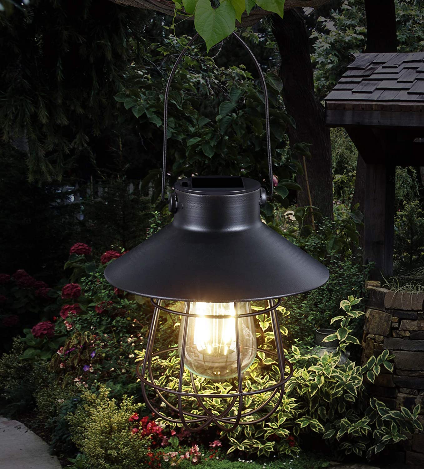Hanging Solar Lights Outdoor -Vintage Solar Powered Lantern Waterproof Retro Solar Lamps with Warm Light Edison Bulb for Patio,Yard,Garden and Pathway Decoration(Black)