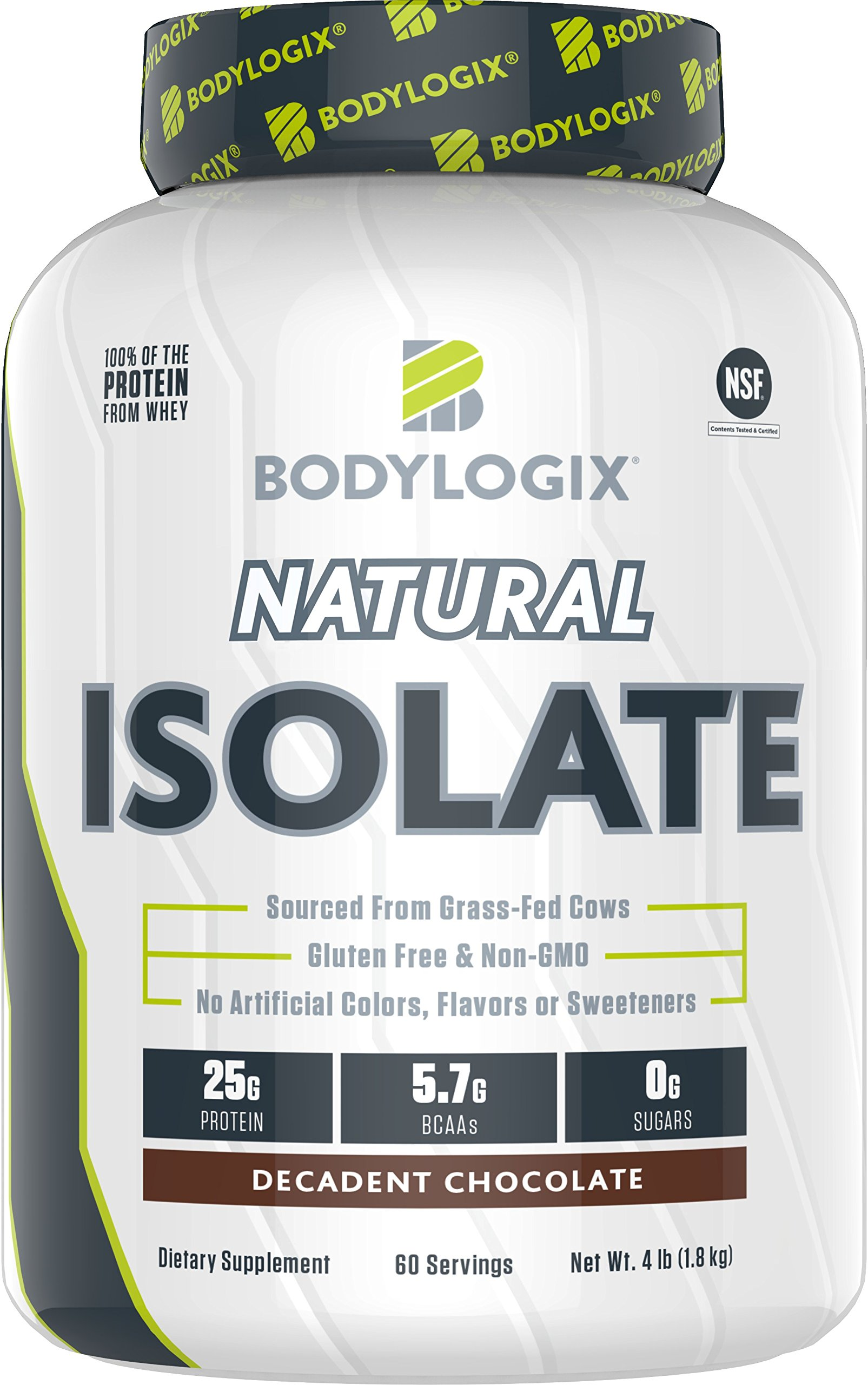 Bodylogix Natural Grass-Fed Whey Isolate Protein Powder, NSF Certified, Decadent Chocolate, 4 Pound