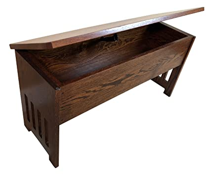 Beau Wooden Flip Top Bench With Storage, Mission, 3 Feet, Oak Wood, Contact