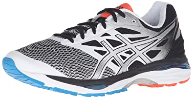 ASICS Men's Gel-Cumulus 18 Running Shoe, White/Silver/Black, 6.5