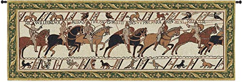 Bayeux Tapestry Historic Masterwork of Norman Conquest of England Woven Tapestry Wall Art Hanging Historic Artwork with Border 100 Cotton USA Size 76×27