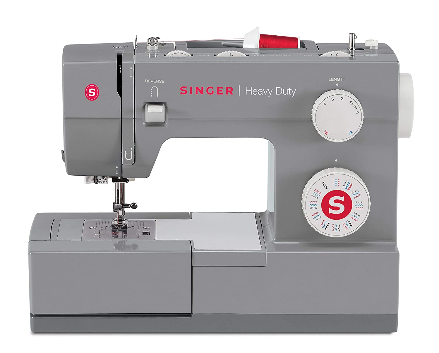 Singer Heavy Duty 4432 Sewing Machine with 32 Built-In Stitches Automatic Needle Threader Renewed Perfect for Sewing All Types of Fabrics with Ease Metal Frame and Stainless Steel Bedplate