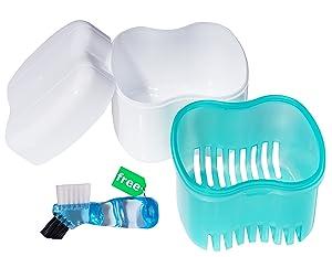 Denture Case,Denture Brush Retainer Case,Denture Cups Bath,Dentures Container with Basket Denture Holder for Travel,Retainer Cleaning Case (Green)