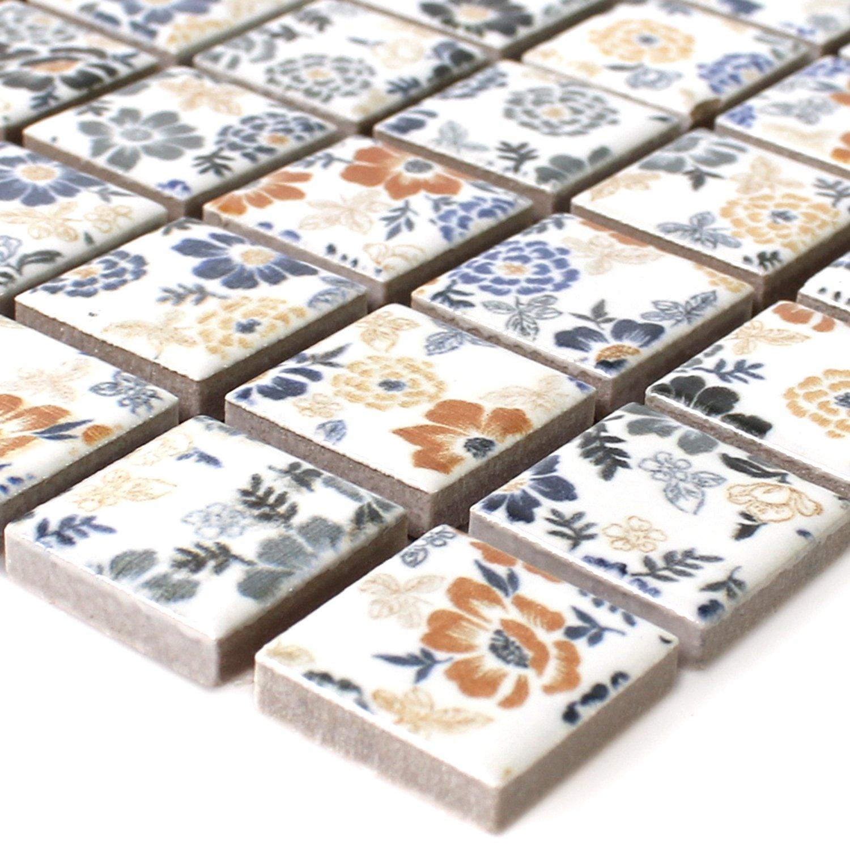 Keramik Mosaik Fliesen Weiss Flower