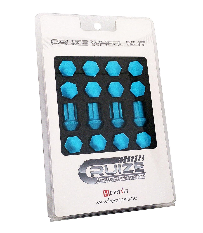 CRUIZE アルミ冷間鍛造ナット P1.5 35mm ロックナット付き 20本セット ライトブルー B011N66ULMライトブルー