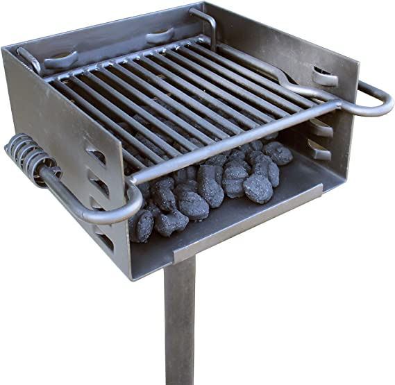 TITAN GREAT OUTDOORS Outdoor Park-Style Charcoal Grill for Camping and Cookouts