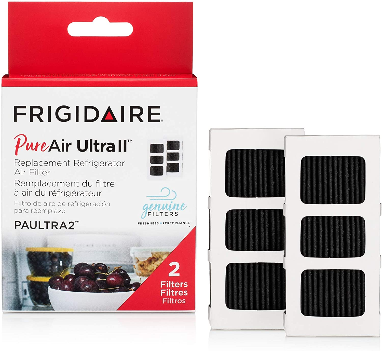 "Frigidaire PAULTRAII2PK PAULTRA2 PureAir Ultra II 2 Pack Air Filter, 3.8"" x 1.8"", 2 Count"