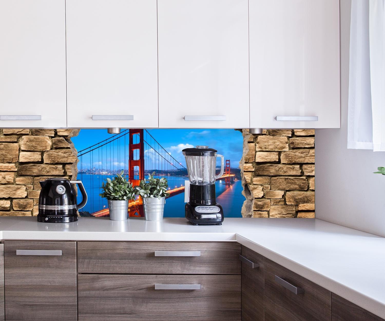 wandmotiv24 Cocina pared trasera Óptica 3D - Golden Gate Brigade en San Francisco - Muro de Piedra Design M0649 180 x 50 cm (W x H) - 3 mm de aluminio Pared trasera cocina foto foto cocina foto foto motivo