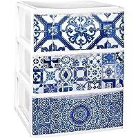 COM-FORT HOUSE Cajonera Apilable Plastico - Modelo Iris - Modelo de 3 Cajones con Decorado Alhambra (380 x370 x473 mm)