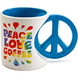 BigMouth Inc Peace, Love & Coffee Mug, Hippie Coffee Cup, Holds 20 Oz of Beverage, Ceramic Peace Sign Cup
