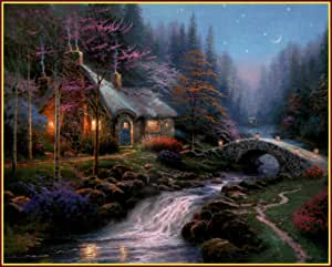 Amazon.com: Thomas Kinkade: Twilight Cottage, Art Print, 9 ...
