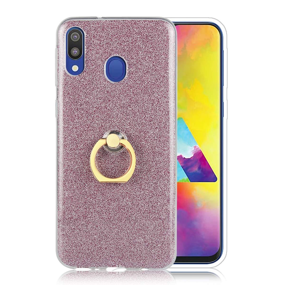 Misstars H/ülle f/ür Galaxy M20 Ultra D/ünn Transparent Weiche TPU Silikon Glitzer Lila Papier Hybrid 2 in 1 Design Bling Schutzh/ülle mit Ring St/änder f/ür Samsung Galaxy M20