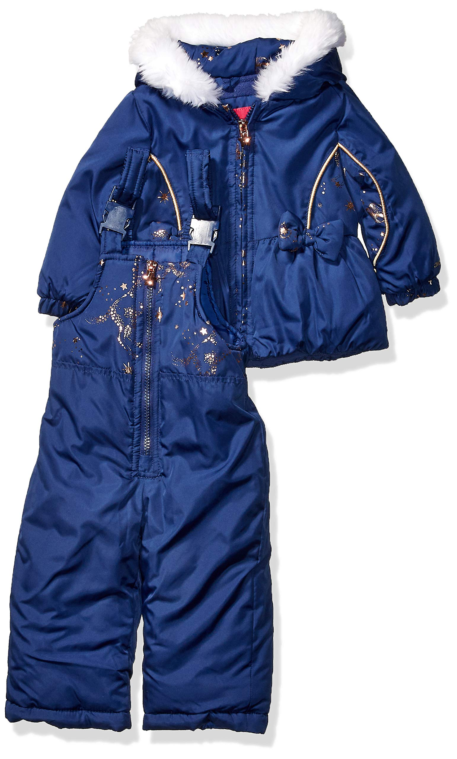 London Fog Baby Girls Snowsuit with Snowbib and Puffer Jacket, Fall Navy Unicorn, 24Mo by London Fog