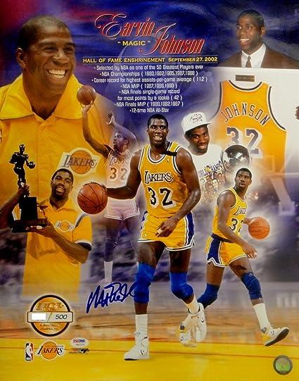 77d6c26e61b Magic Johnson Signed Autograph 16x20 Photo Hall Of Fame Collage PSA DNA  180 500