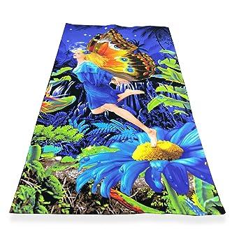 Toalla Playa fotográfico de Microspugna tamaño grande cm. 90 x 160 Mujer Mariposa: Amazon.es: Jardín