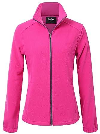 JayJay Women Ultra Soft Breathable Full-Zip Fleece Jersey Jacket at ... c0454e607