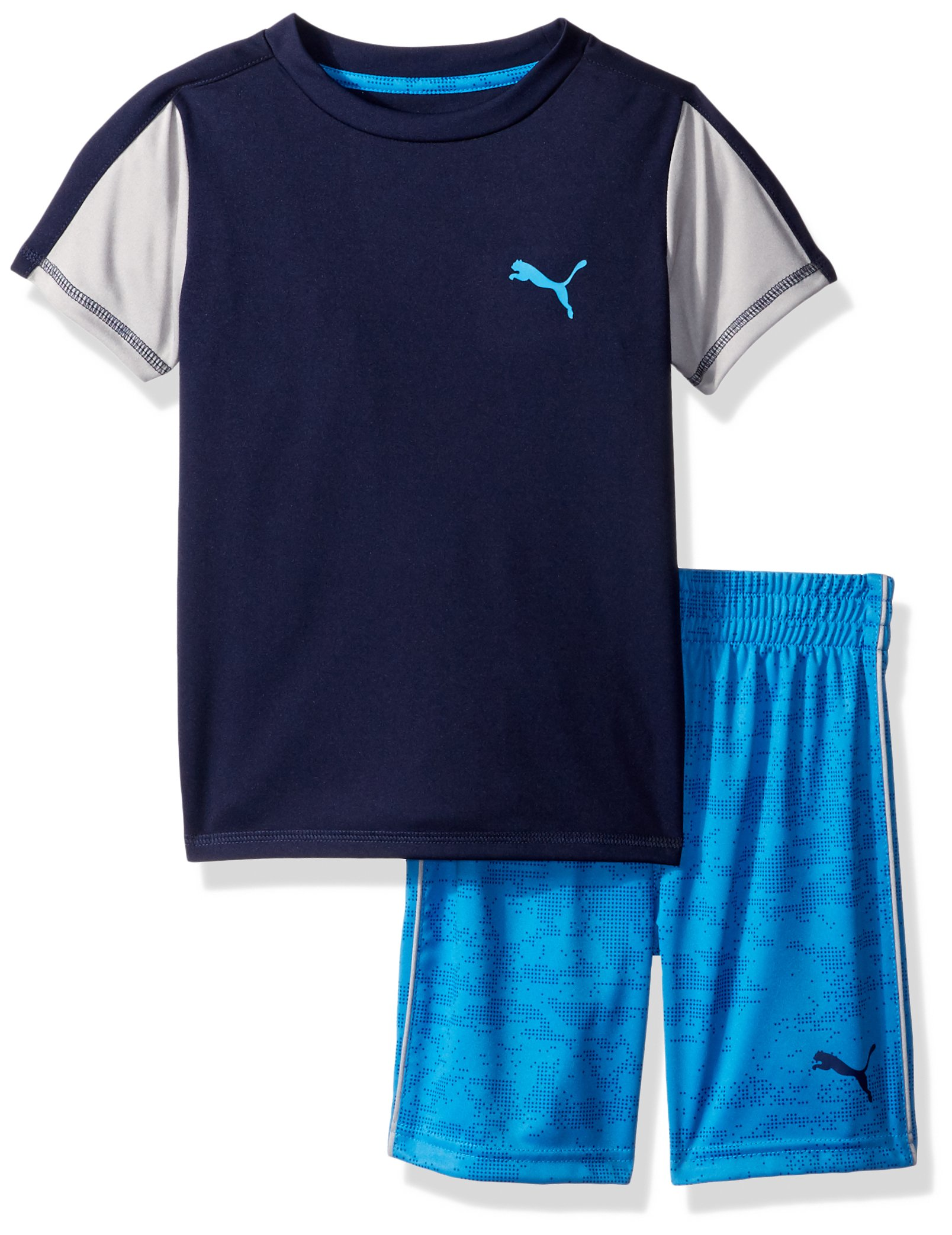 PUMA Little Boys' 2 Piece Tee Short Set, Peacoat, 6