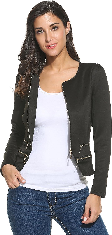 Zeagoo Women's Casual Zipper Cardigan Blazer O Neck Slim Fitted Office Jacket