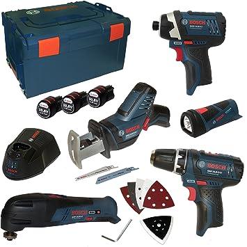 Bosch Profesional - Kit de 5 herramientas (edición limitada, GSA, GOP, GLI, GDR, GSR, incluye 3 baterías de 10,8 V y 1,5 Ah y cargador AL1130CV en L-Boxx, talla 3): Amazon.es: Bricolaje y herramientas