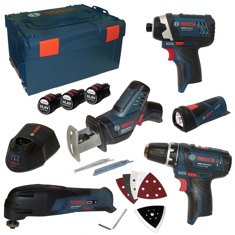 3/batteries 10,8/V 1,5/Ah GSR, GOP, GLI, GDR, GSR Bosch Professional Kit professionnel doutillage avec 5/instruments chargeur AL1130CV et L-Boxx taille 3 R/éf/0615990EX4