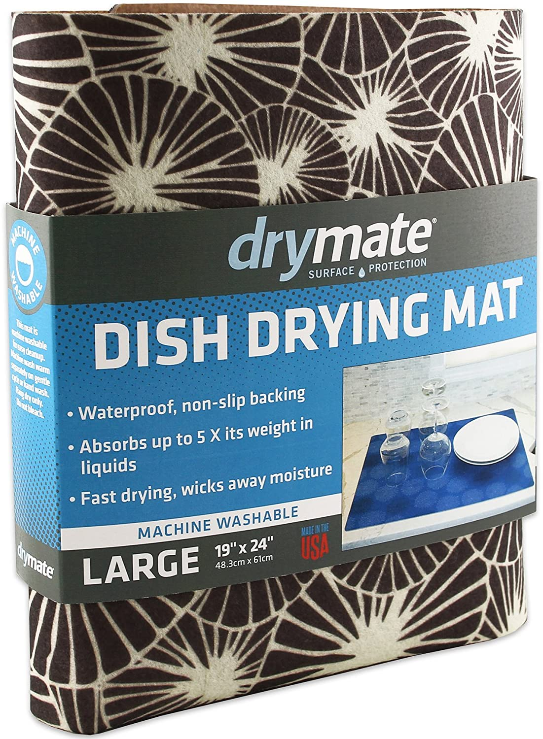 Drymate Dish Drying Mat, Premium XL (19 Inches x 24 Inches) Kitchen Dish Drying Pad – Absorbent/Waterproof – Machine Washable (Made in the USA) (Kahopo Grey)