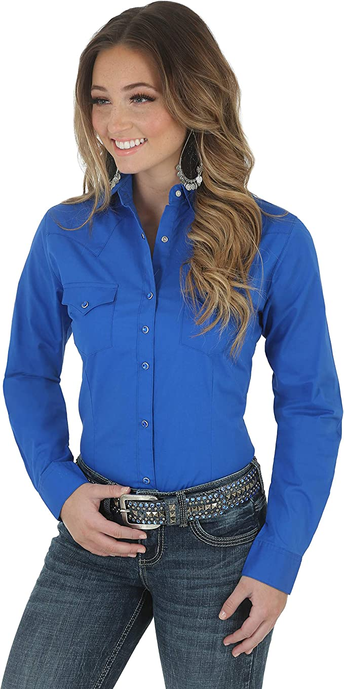 How to Dress for a Rodeo - Wrangler Women's Long Sleeve Western Top Black X-Small