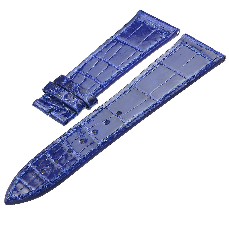 zlimsnカスタマイズされたライトクロコダイルレザー時計バンドストラップメンズ色選択ブルー幅12 mm-26 mm 38 mm 42 mm 17mm ブルー  ブルー 17mm B0791CT1XX