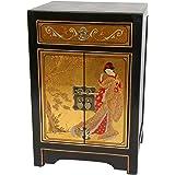Oriental Furniture Gold Leaf End Table Cabinet