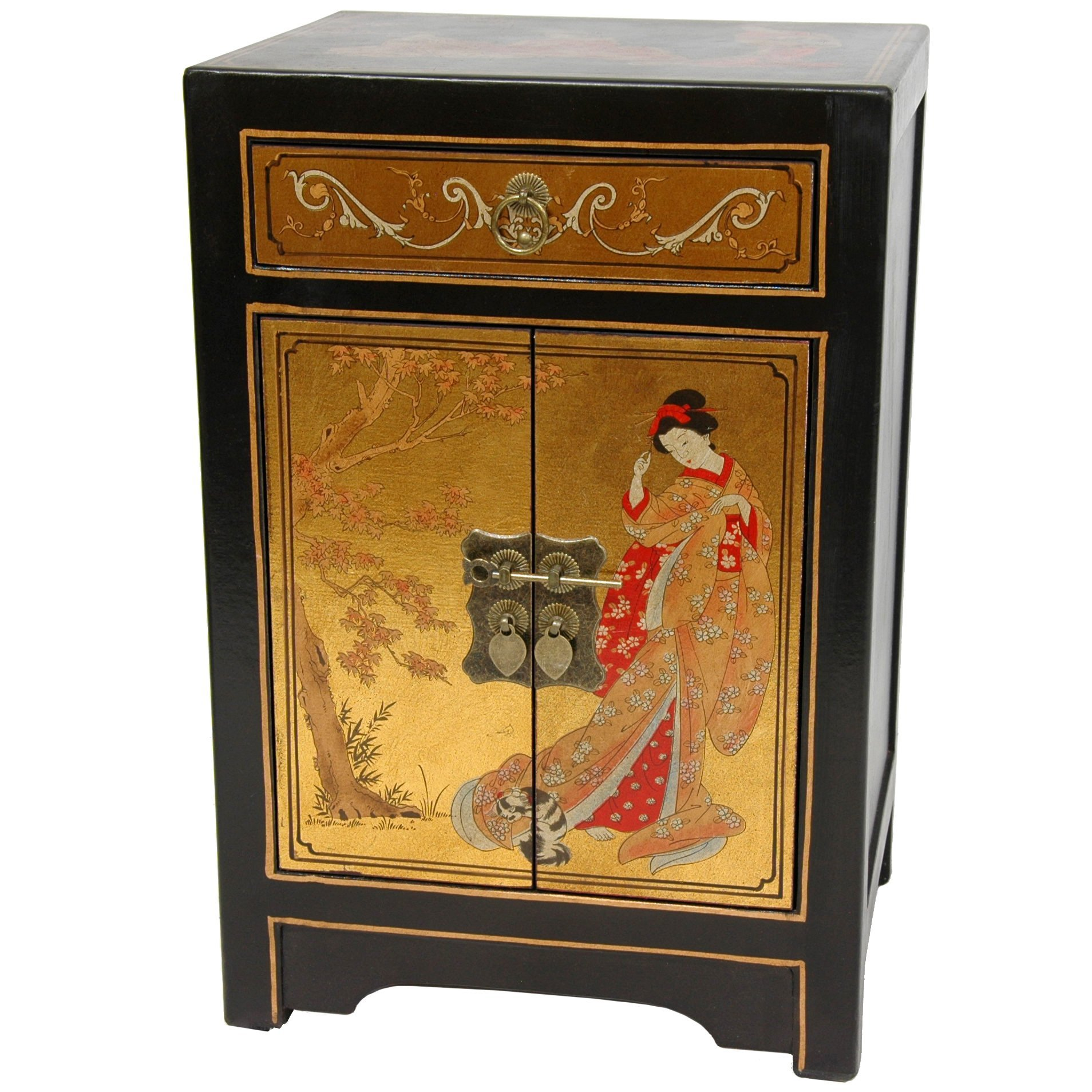 Oriental Furniture Gold Leaf End Table Cabinet by ORIENTAL FURNITURE
