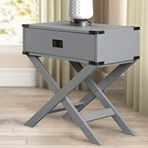 Roundhill Furniture Trava X-Cross Base Wood End Table with Drawer, Gray