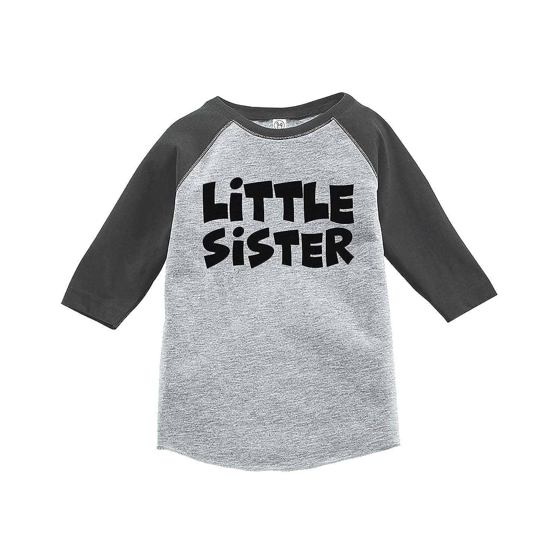 7 ate 9 Apparel Girls Little Sister Grey Baseball Tee